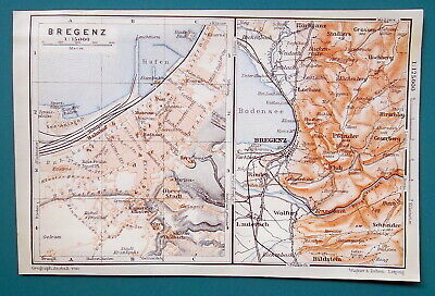 AUSTRIA Bergenz City Town Plan Good for Genealogy Research - 1910 MAP Baedeker