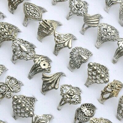 20/30pcs Tibet Silver Vintage Rings Wholesale Bulk Band Ring Jewelry Mixed Style