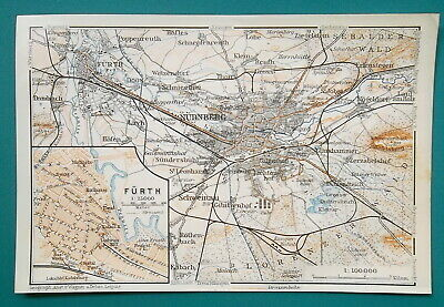 GERMANY Nuremberg & Furth Environs + Town Plan - 1910 MAP Baedeker