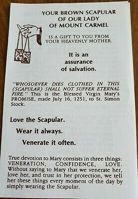 'Brown Scapular of Our Lady of Mount Carmel' prayer booklets (pack of 4)