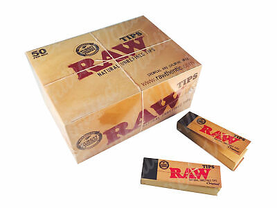 100% Raw Rolling Paper Tips Box of 50 Packs Roach Full Box 50 PER Booklets UK