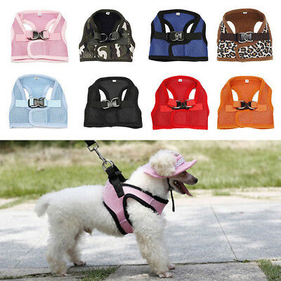 AU_ HK- Small Pet Puppy Dog Soft Mesh Walking Collar Strap Vest Harness Apparel