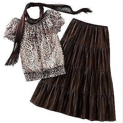 Cheetah Top & Tiered Skirt 3 Piece Set- My Michelle Large (14)  Girls
