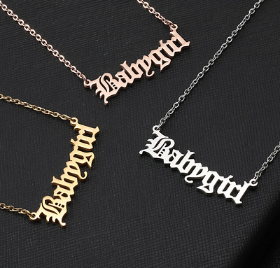 Babygirl Gold Plated Fashion Necklace Silver Rose Name Hip Hop Celebrity Chain