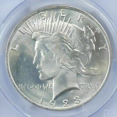 (1) BU $1 1923 Peace Silver Dollar Dripping with luster Unc MS 90% Bulk & Save