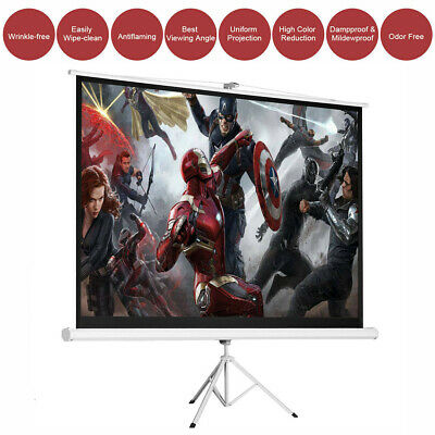 "100"" 16:9 Projector Screen Portable Indoor Outdoor Projection with Stand Tripod"