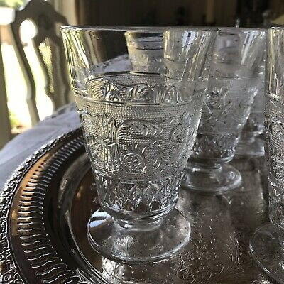 Antique Embossed Depression Clear Glass 12 Oz Footed Water Goblets -Set-Off 8-