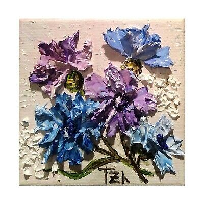 Blue Cornflowers Original Oil  painting Floral still life 4 x 4 in