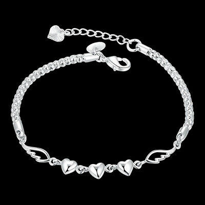 AU_ Women Jewelry Bangle Chain Bracelet 925 Sterling Solid Silver Crystal Cuff T