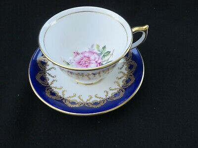 Aynsley Fine Bone China Teacup & Saucer with Pink Roses Cobalt Blue & Gold Lace