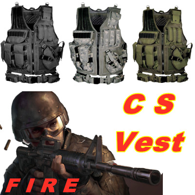 Military Tactical CS Vest Paintball Airsoft Hunting Molle Mag Assault Pouches UK