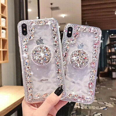 Luxury Bling Diamond Case Pop Up Holder Stand For Iphone XR XS Max Cover 6Plus