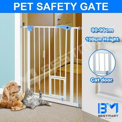 Baby Safety Security Gate Adjustable Pet Dog Stair Barrier Cat Door 100cm Tall