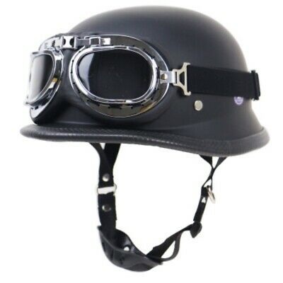DOT Motorcycle German Style Half Face Helmet with Pilot Goggles Black M L XL