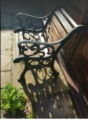 Old antique ornamental garden seat in cast iron and beech. Collection only
