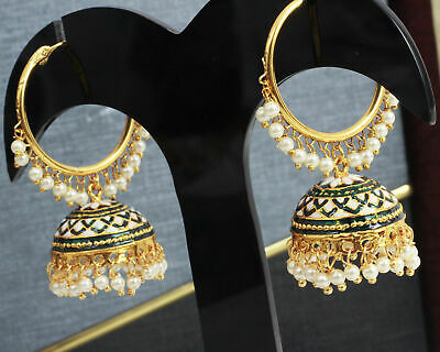 Indian Bollywood Pearl Meenakari Jhumka Jhumki Earrings Wedding Jewelry Set
