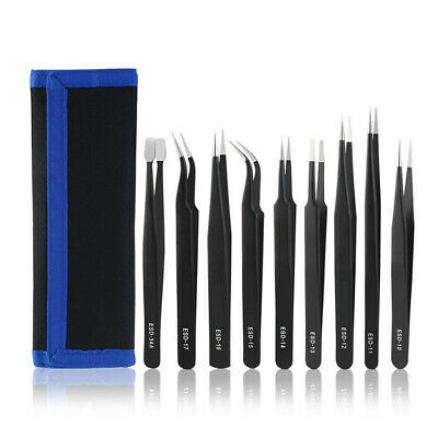 9x Professional Coated Precision ESD Non-Magnetic Stainless Steel Tweezers Set