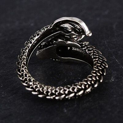 Vintage Gothic Exaggerate Animal Dragon Head Finger Rings Punk Jewellery JJ