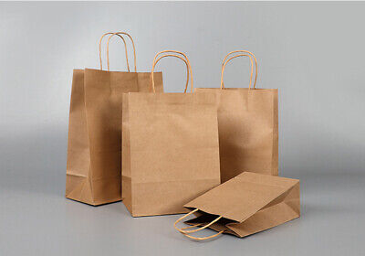 Small Medium Large Sizes Brown Paper Party & Gift Bags Strong Twisted Handles