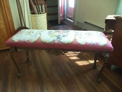 Exquisite 1924 W.H. Howell Cast Iron Bench w/ Needlepoint Seat  Local Pickup