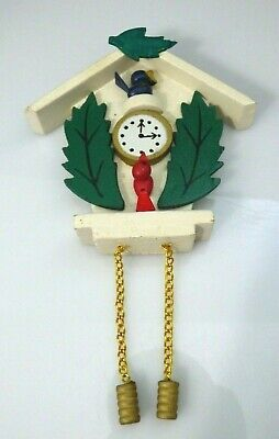Vintage Wooden Cuckoo Clock Wood Ornament Birds Green Leaves Chain Christmas