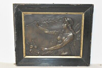 Altes Bild Relief aus Bronze Jugendstil um 1900 Antik / Regal Fach H2
