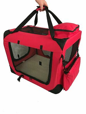 RayGar Foldable Fabric Soft Pet Crate Cat Dog Cage Carrier, Red, Size XL, Vgc