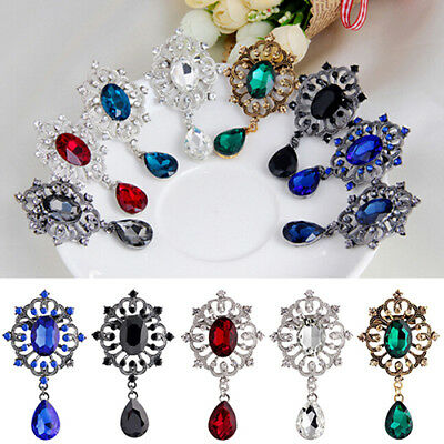 AU_ Women Rhinestone Alloy Brooch Pin Large Waterdrop Pendent Party Jewelry Reli