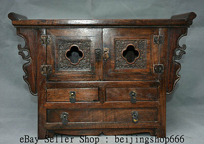 "18"" Old Chinese Huanghuali Wood Carving Flower Shoebox Locker Cabinet furniture"