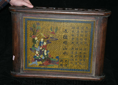 """19.6"""" Old China Huanghuali Wood Lacquerware Dynasty Tongzi Boys Kids Desk Table"""