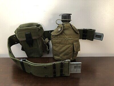 Nice Vintage 1983 US Army Belt with Pouch and Canteen ( WW1, WW2, Vietnam)