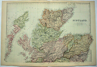 Northern Scotland - Large Original 1882 Map by Blackie & Son. Antique