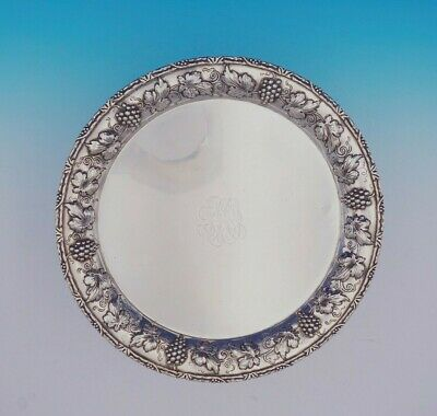 Repousse by A. G. Schultz Sterling Silver Salver Tray Round with Grapes (#3492)