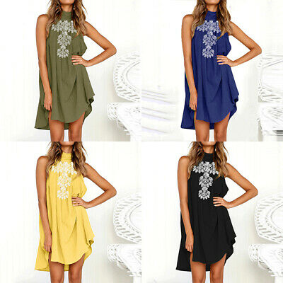 Womens Dress Summer Loose Mini Stylish Beach Embroidery Casual 2019 Holiday