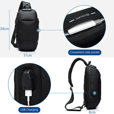 OZUKO 2019 New Multifunction Crossbody Bag  Men Anti theft Shoulder Waterproof