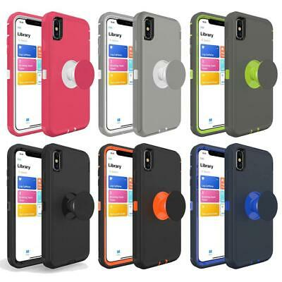 Heavy Duty Hard Defender Case with Pop Holder for IPhone X XR XS Max Cover Armor