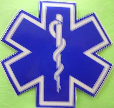 """Star Of Life 8"""" White & Blue Reflective Decal Sticker"""
