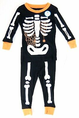 Carters Boys Pajama Set Glow in the Dark Skeleton Spider Web Size 12 18 Months
