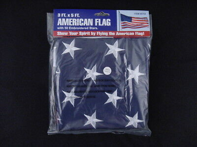 Woven Fabric American Flag w/ Embroidered Stars and Metal Grommets 3ft by 5ft