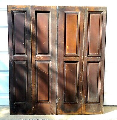 Antique Vintage Pair Of Wooden Interior Window Folding Shutters ? Mahogany