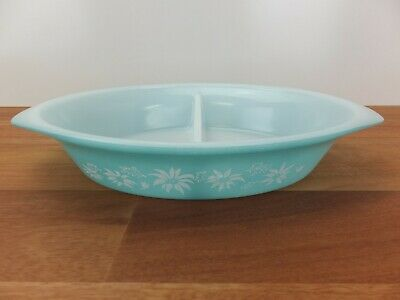 Vintage PYREX Agee  Turquoise Haze Blue Flannel Flowers Divided Dish