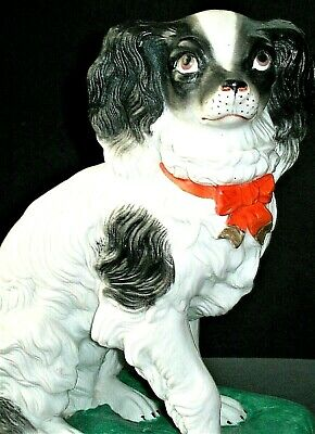 Antique French Sevres Qty King Charles Spaniel Dog Porcelain Bisque Figurine