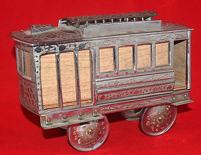 Vintage Fred Zimbalist Figural Music Box Engraved Thorens Swiss Movement Trolley