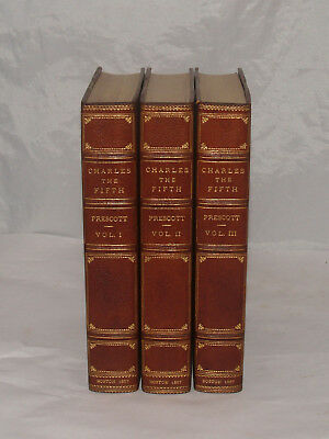 Antique Charles The Fifth William Prescott Fine Leather Binding Book Set 1857