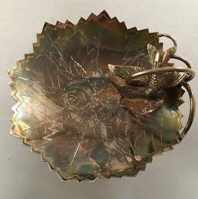 Antique Victorian Engraved Silverplate Bird Calling Card Stand Tray Southingham