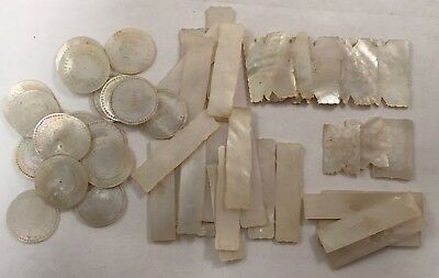 Antique Set Chinese Mop Engraved Mother Of Pearl Gaming Counter Chips Gambling