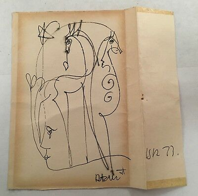 Original Surrealist Surrealism Signed Pen Ink Drawing Art Picture Unknown Artist