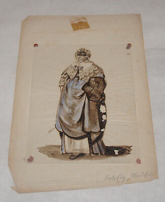 Antique Hand Painted Costume Art Sketch Drawing Folk Art 18Th 19Th Century Paper