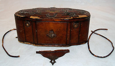 Antique Tooled Leather Covered Games Compendium Traveling Case Box Chest