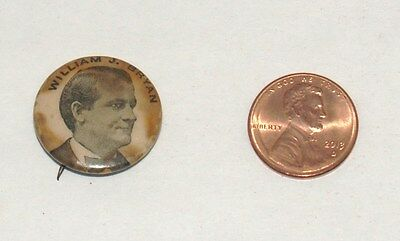 Antique William Jennings Bryan Picture Campaign Pin Political Pinback Button '96